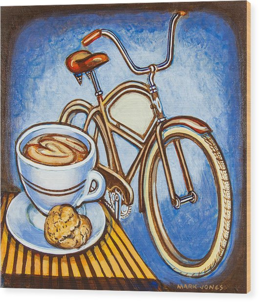 Brown Electra Delivery Bicycle Coffee And Amaretti Wood Print