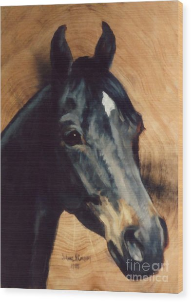 Brown Horse  Tingeys Star Wood Print by JoAnne Corpany