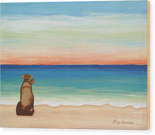 Brown Lab Dog On The Beach Wood Print