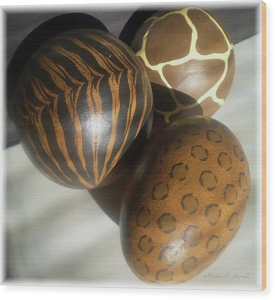 Brown Patterned Decor In Sunlight Wood Print