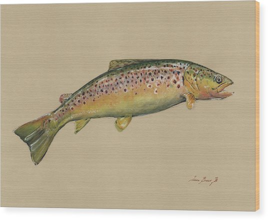 Brown Trout Jumping Wood Print