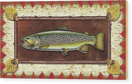 Brown Trout Lodge Wood Print