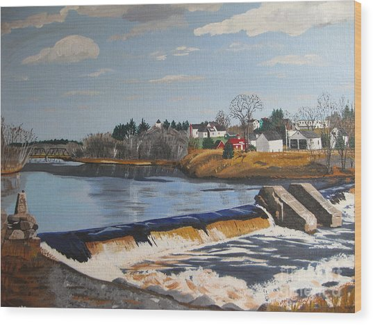 Brownville Dam With Village Wood Print