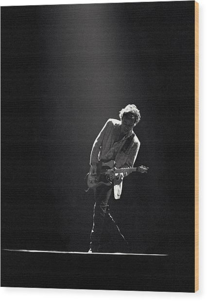 Bruce Springsteen In The Spotlight Wood Print