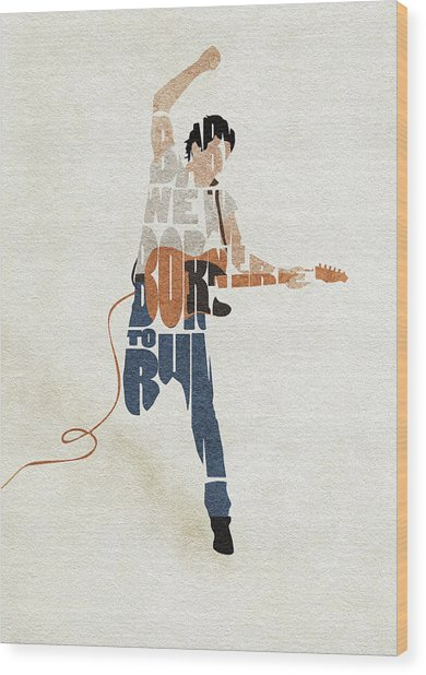 Bruce Springsteen Typography Art Wood Print