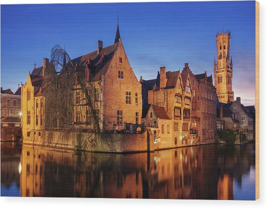 Wood Print featuring the photograph Bruges Architecture At Blue Hour by Barry O Carroll