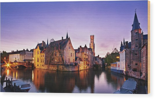 Wood Print featuring the photograph Bruges At Dusk by Barry O Carroll