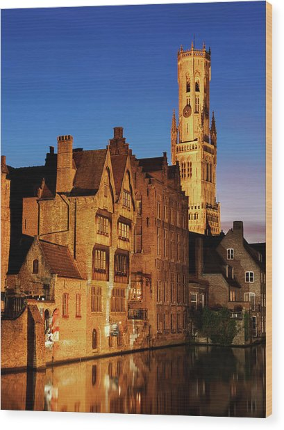 Wood Print featuring the photograph Bruges Belfry At Night by Barry O Carroll