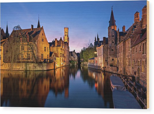 Bruges Canals At Blue Hour Wood Print