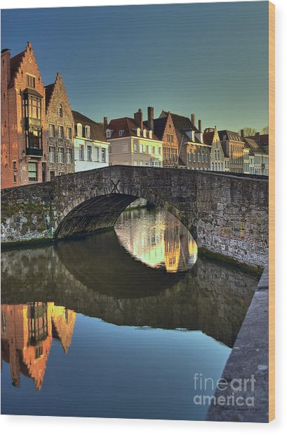 Bruges Twighlight Wood Print