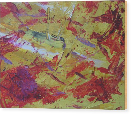 Wood Print featuring the painting Brush Stroke Boot Camp Seven by AJ Brown
