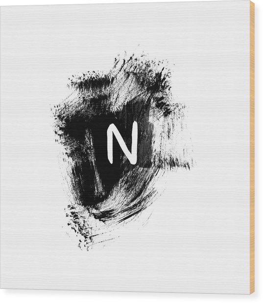 Brushtroke N -monogram Art By Linda Woods Wood Print
