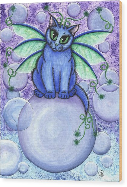 Bubble Fairy Cat Wood Print