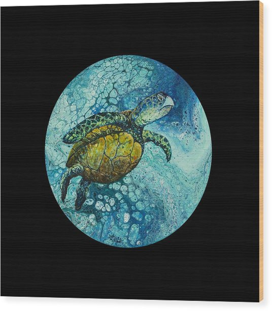 Wood Print featuring the painting Bubble Surfer On Black by Darice Machel McGuire