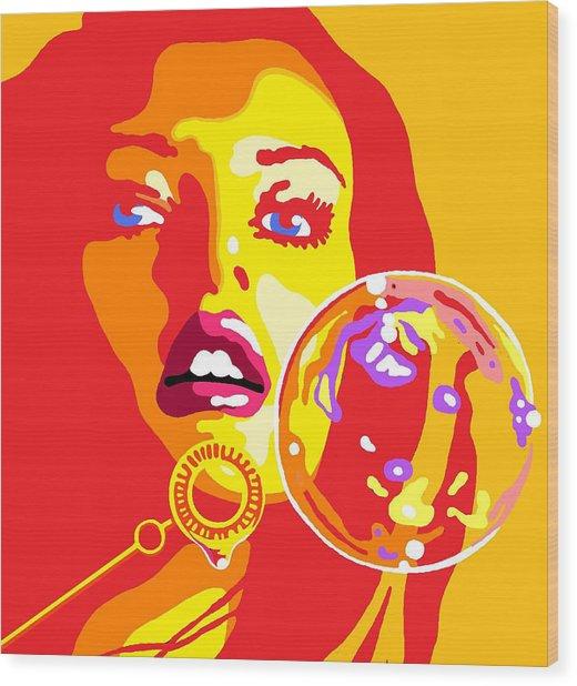 Bubbles 2 Wood Print by Heli Luukkanen