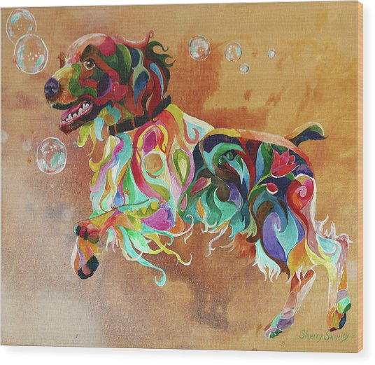 Bubbles  English Springer Wood Print
