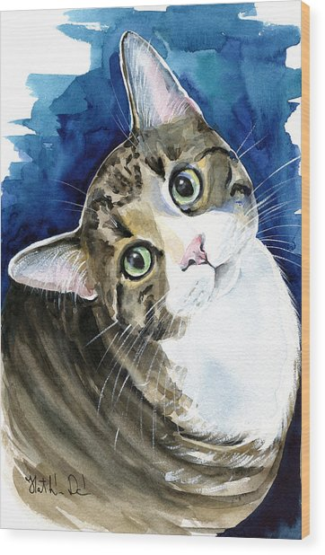 Bubbles - Tabby Cat Painting Wood Print
