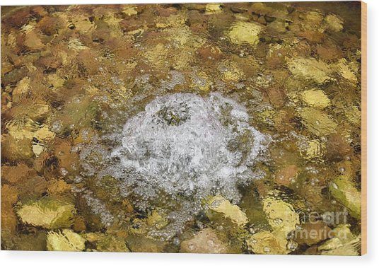 Bubbling Water In Rock Fountain Wood Print