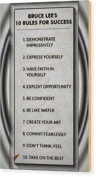 Buce Lee 10 Rules Of Success Wood Print