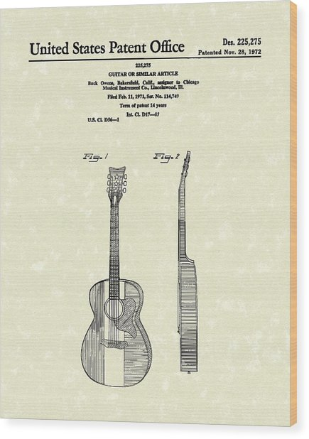 Buck Owens Guitar 1972 Patent Art  Wood Print