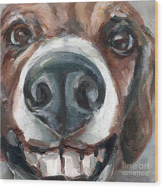 Buck-toothed Beagle Wood Print by Linda Vespasian
