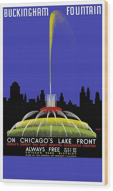 Buckingham Fountain Vintage Travel Poster Wood Print