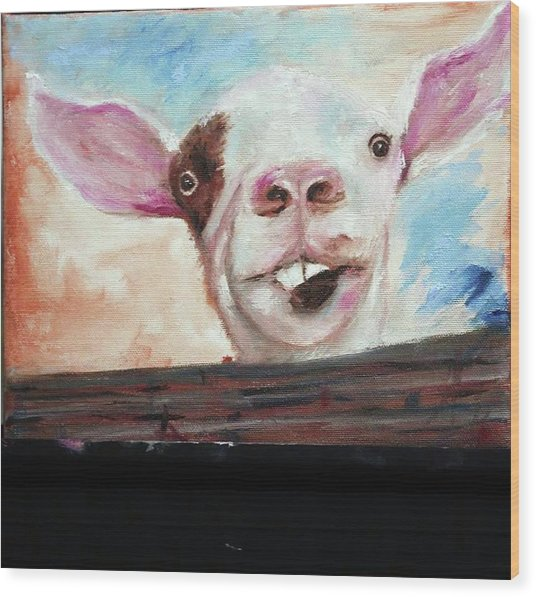 Bucktooth'd Goat Part Of Barnyard Series Wood Print