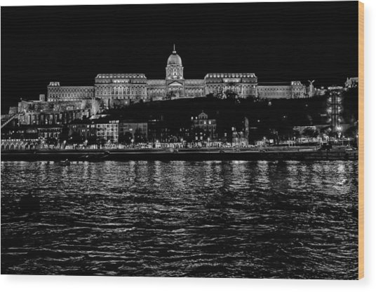 Buda Castle Over The Danube Wood Print