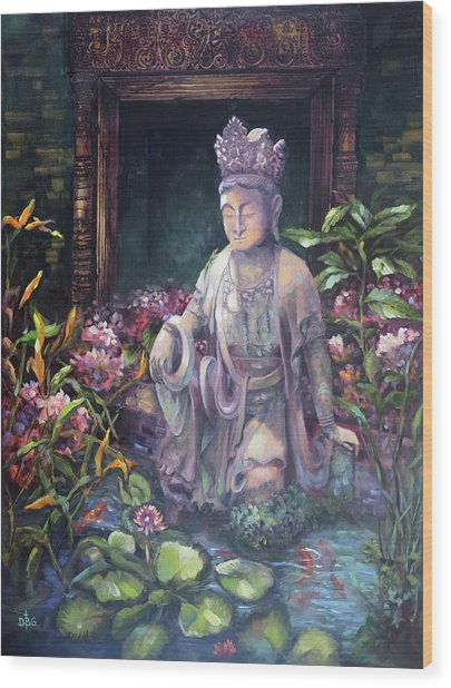 Budda Statue And Pond Wood Print