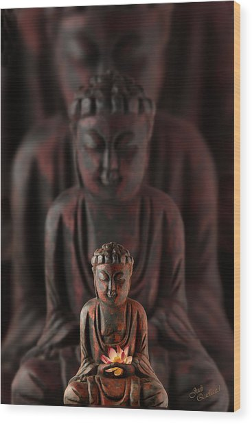 Buddah With Lotus Flower Wood Print