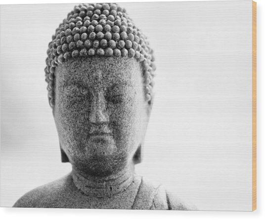 Buddha In Black And White Wood Print by Edward Myers