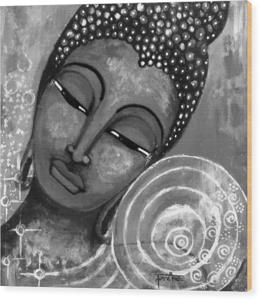 Buddha In Grey Tones Wood Print