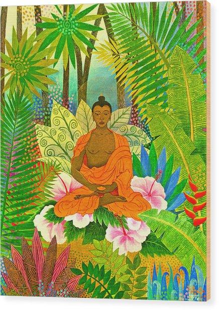 Buddha In The Jungle Wood Print by Jennifer Baird