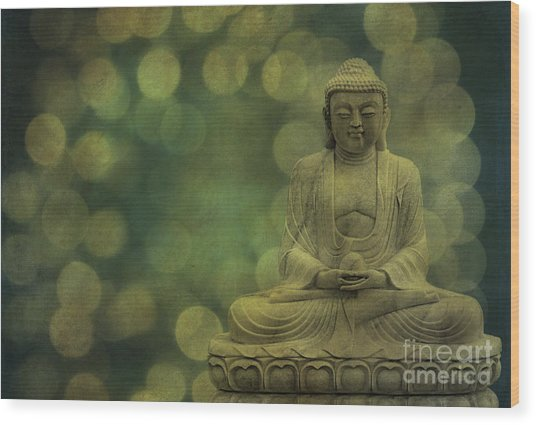 Buddha Light Gold Wood Print
