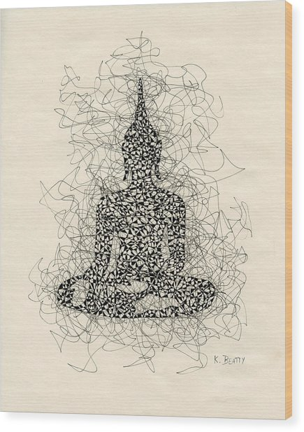 Buddha Pen And Ink Drawing Wood Print