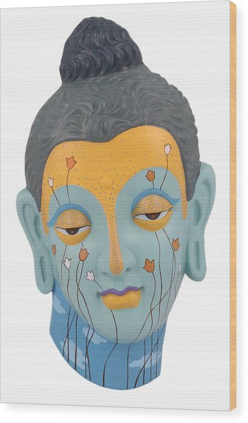 Buddha - Relief-3 Wood Print