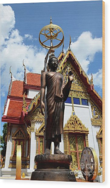 Buddha Statue With Sunshade Outside Temple Hat Yai Thailand Wood Print