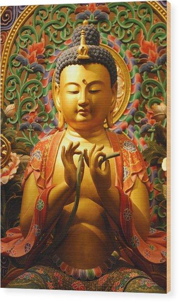 Buddha Wood Print by Susette Lacsina