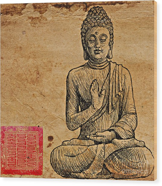 Buddha The Minimalist Wood Print
