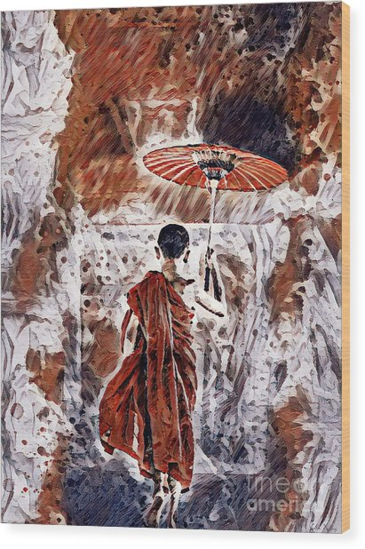 Buddhist Monk Wood Print