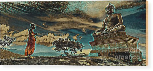 Buddhist Monk Praying To Buddha Wood Print