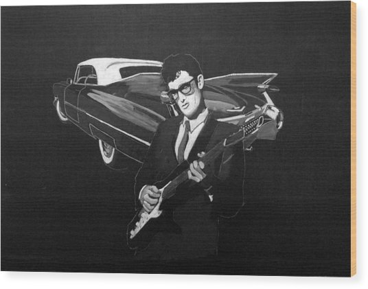 Buddy Holly And 1959 Cadillac Wood Print