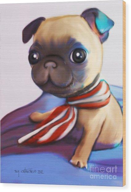Buddy The Pug Wood Print