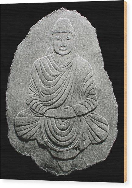 Budha - Fingernail Relief Drawing Wood Print