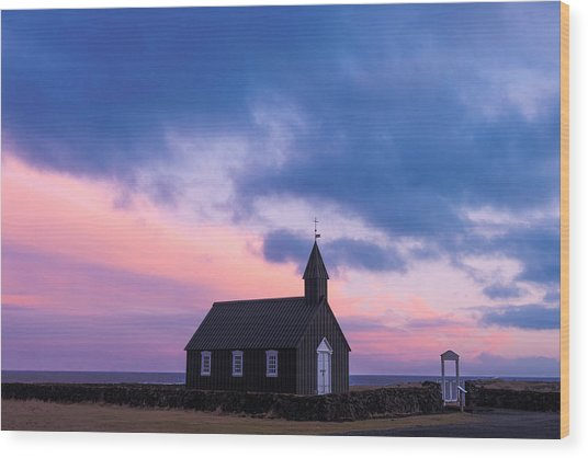 Budir Black Church Wood Print