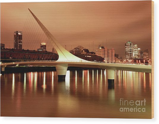 Buenos Aires On Fire Wood Print