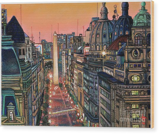 Buenos Aires Twilight Wood Print