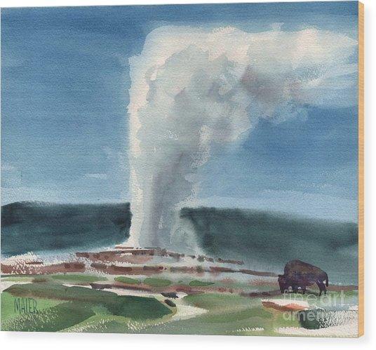 Buffalo And Geyser Wood Print