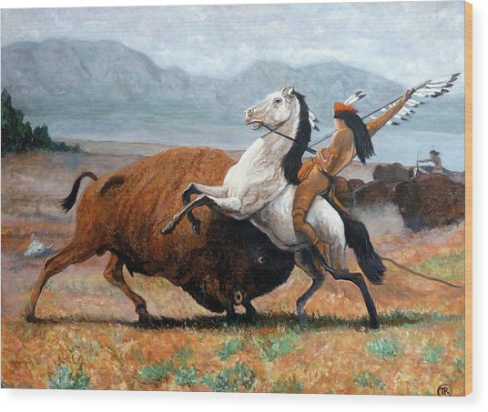 Buffalo Hunt Wood Print