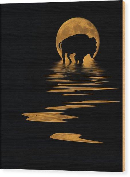 Buffalo In The Moonlight Wood Print